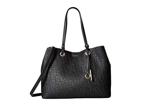 Smooth Pu Ck Emboss Novelty Tote, Black/Gold