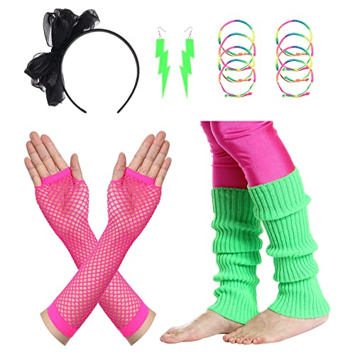 dd1bfcc6a9c75 JustinCostume Women's 80s Outfit Accessories Neon Earrings Leg Warmers  Gloves