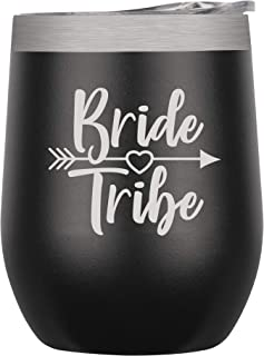 Chris's Stuff Wine Tumbler - Iced Coffee Mug with Splash-Proof Lid. Stainless Steel Double Wall Vacuum Insulated with Inner Layer of Copper to Keep Drinks Cold/Hot - Quote: Bride Tribe