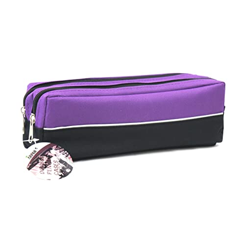Arpan X-Large size Double Zip Fabric Pencil Case - Ideal For School College 08f9150b9048d
