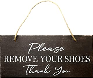 JennyGems - Please Remove Your Shoes Thank You - Brown Stained Wood with White Print - 13 x 6 inches - Made in USA