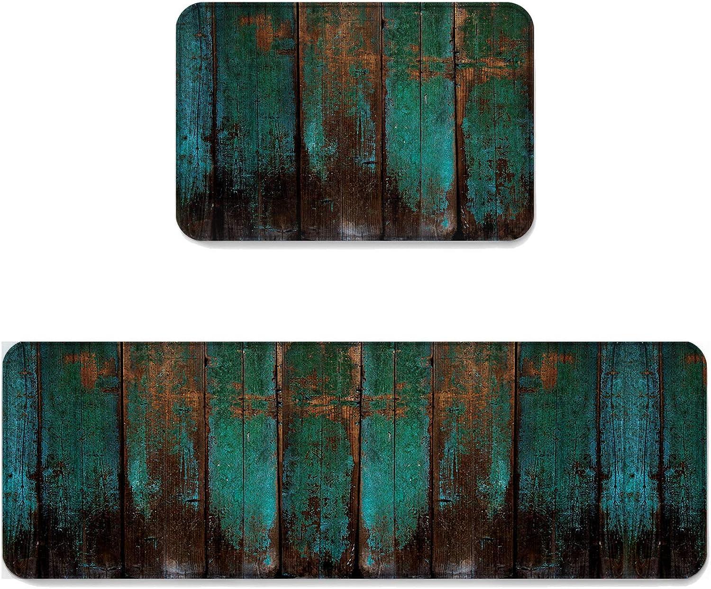2 pcs Kitchen Mat Doormat Runner Rug Set, Kids Area Rug Bedroom Rug Non-Slip Rubber Backing Door Mats Country Rustic Distressed Teal Green Barn Wood 19.7'' x 31.5'' + 19.7'' x 47.2''