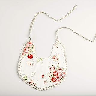 Reversible Pom Pom Floral Polka Boho Baby Girl Bib String Ties Pink White Machine Washable For Newborn Infant Toddler Shower Or Birthday