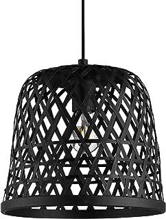 EGLO Kirkcolm 43112 - Lámpara de techo colgante vintage, natural, boho, Hygge, de acero, madera de cesta trenzada en negro, para mesa de comedor, salón colgante con casquillo E27
