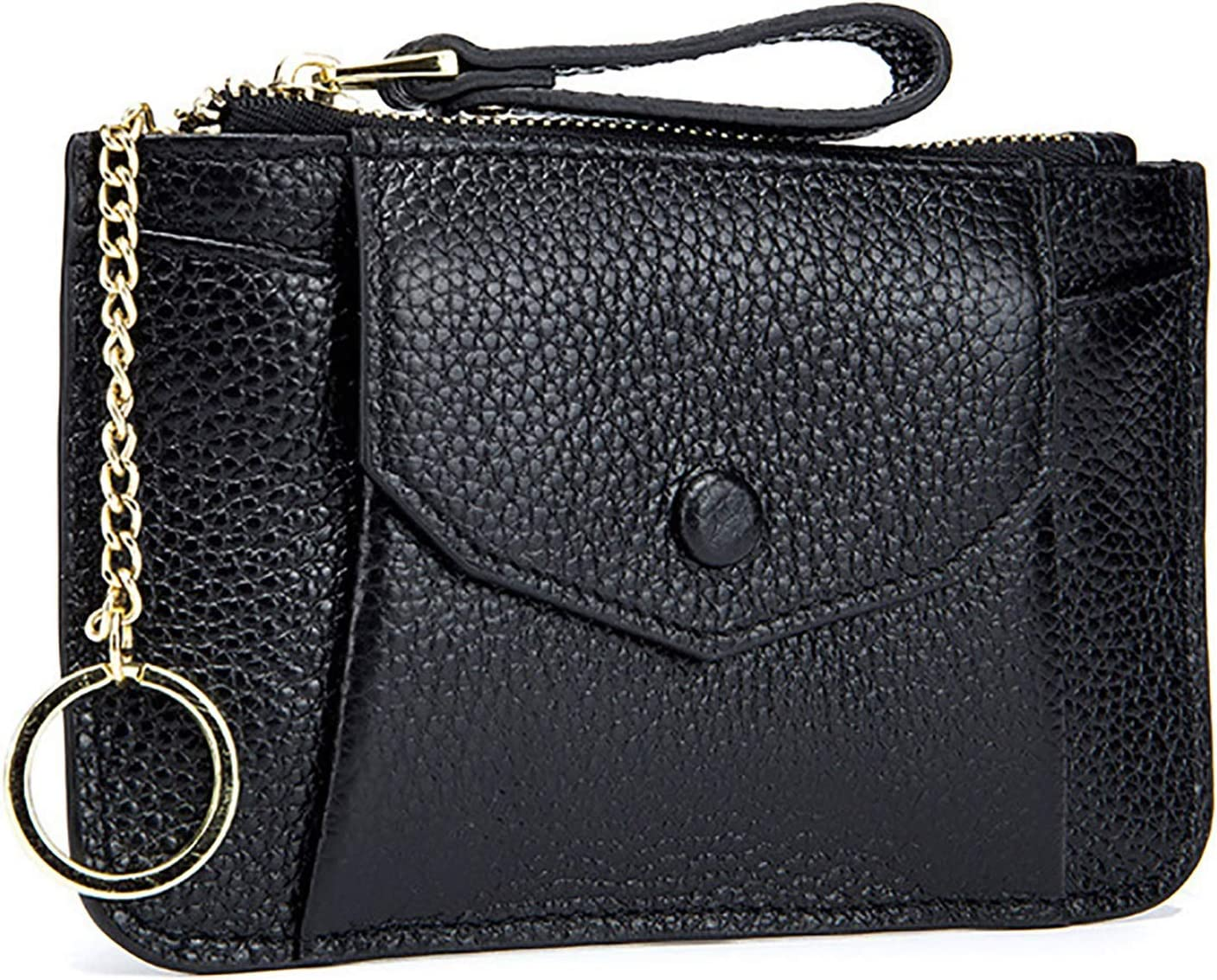 LIUMANG Coin Purse Women Leather Change Wallet Coin Pouch Key Bag Small Pocket Wallets with Key Chain Coin Purse Mini Coin Purse (Color : Black, Size : 15x9.5x1cm)