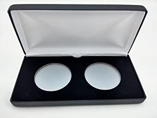 (1) Air-Tite Black Leatherette Coin Presentation Case (Holds 2) for Air-Tite Brand Coin Holder Capsules (Model