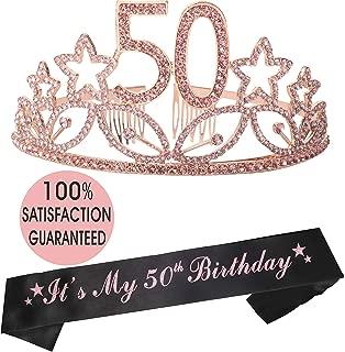 50th Birthday Tiara and Sash, Happy 50th Birthday Party Supplies, 50 & Fabulous Black Glitter Satin Sash and Crystal Tiara Birthday Crown for 50th Birthday Party Supplies and Decorations(Pink)