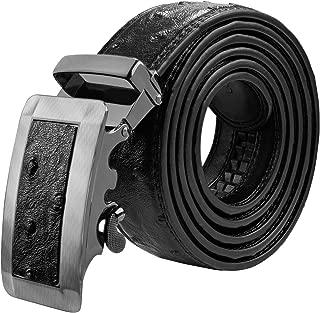Men's Belt Ratchet Leather Dress Belt with Automatic Buckle