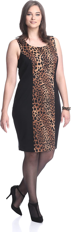 Single by Galina Sobolev Women's Sleeveless Leopard Dress, Bown Multi Black, 2X