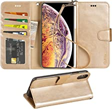 Arae Wallet Case for iPhone Xs Max PU Leather flip case Cover [Stand Feature] with Wrist Strap and [4-Slots] ID&Credit Cards Pocket for iPhone Xs Max 6.5