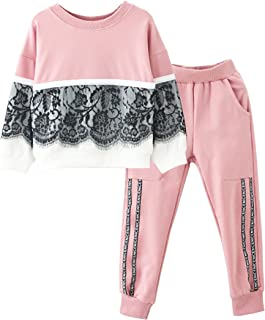 M RACLE Cute Little Girls 2 Pieces Long Sleeve Top Pants Leggings Clothes Set Outfit