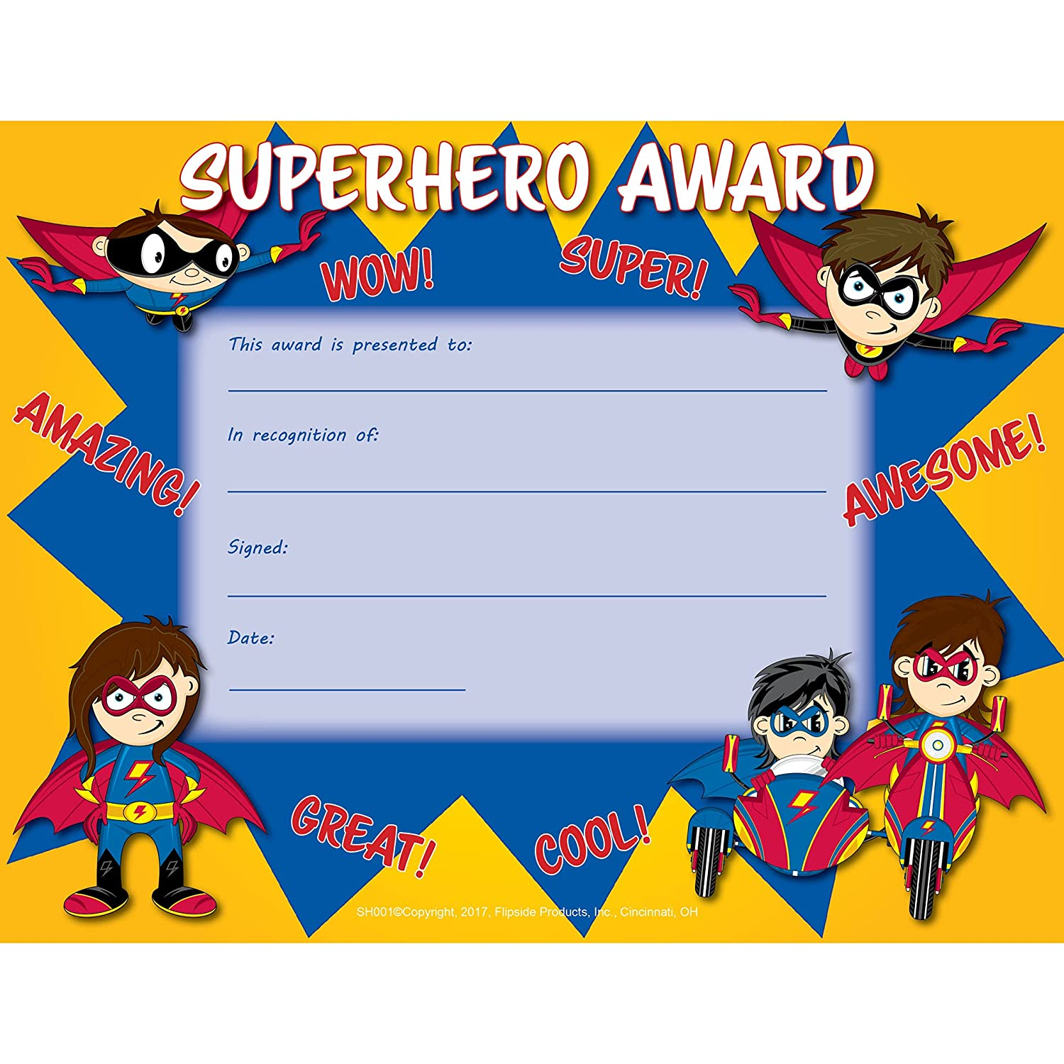 Amazon Com Flipside Superhero Award Certificate 8 5 X 11 Pack Of 30 Office Products