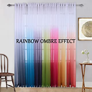 KEQIAOSUOCAI Grommet Ombre Light Blue Curtain 84 Inches Semi Sheer Panel with Gradient Style Window Decor Drapes for Living Room/Bedroom/Sliding Glass Door