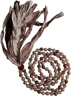 Live Radiantly 108 Mala Bead Necklace - 8mm Moonstone & Peach Moonstone - African Glass Bead - Sari Silk Tassel - Meditation, Mindfulness, Yoga - Intuition, Self-Love and Wholeness