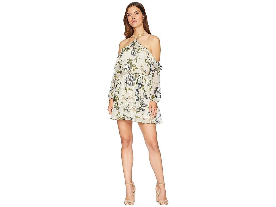 BB Dakota Off-The-Shoulder Floral Dress (Light Taupe) Women