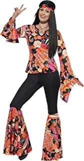 Smiffy's Women's 1960's Willow The Hippie Costume, Top, Pants, Headscarf and Medallion, 60's Groovy Baby, Serious Fun, Plus Size 18-20, 45516