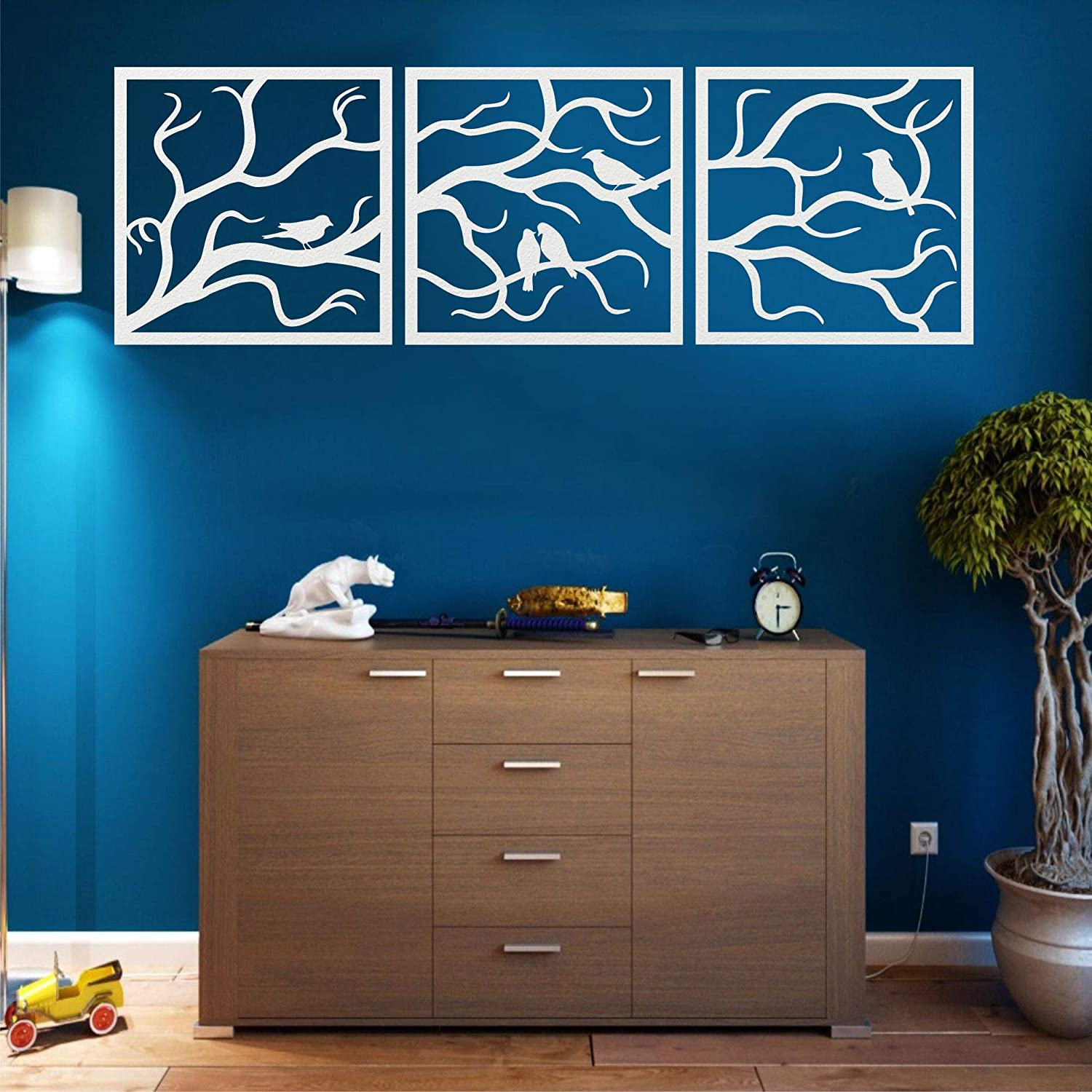 Metal Wall Art White Birds NEW before selling ☆ 3 on Tree Trust Pieces Branch