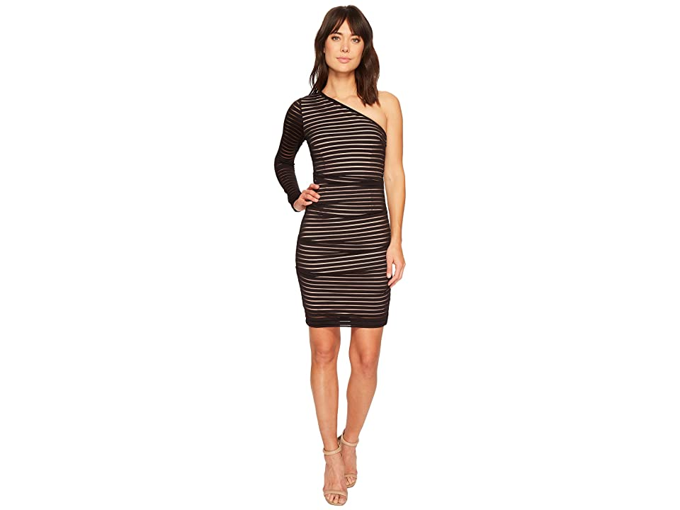 Nicole Miller One Shoulder Dress (Black/Nude) Women