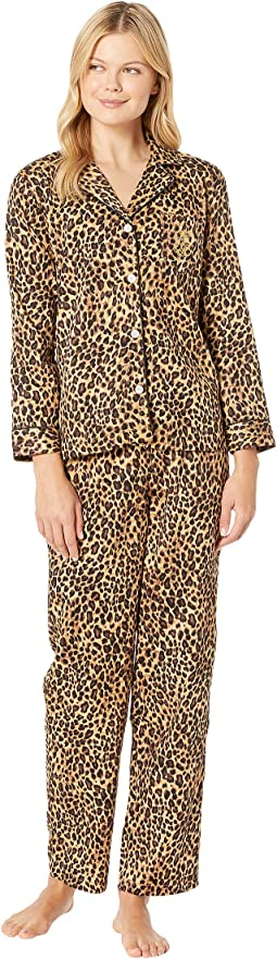 Sateen Long Sleeve Classic Notch Collar Pajama Set