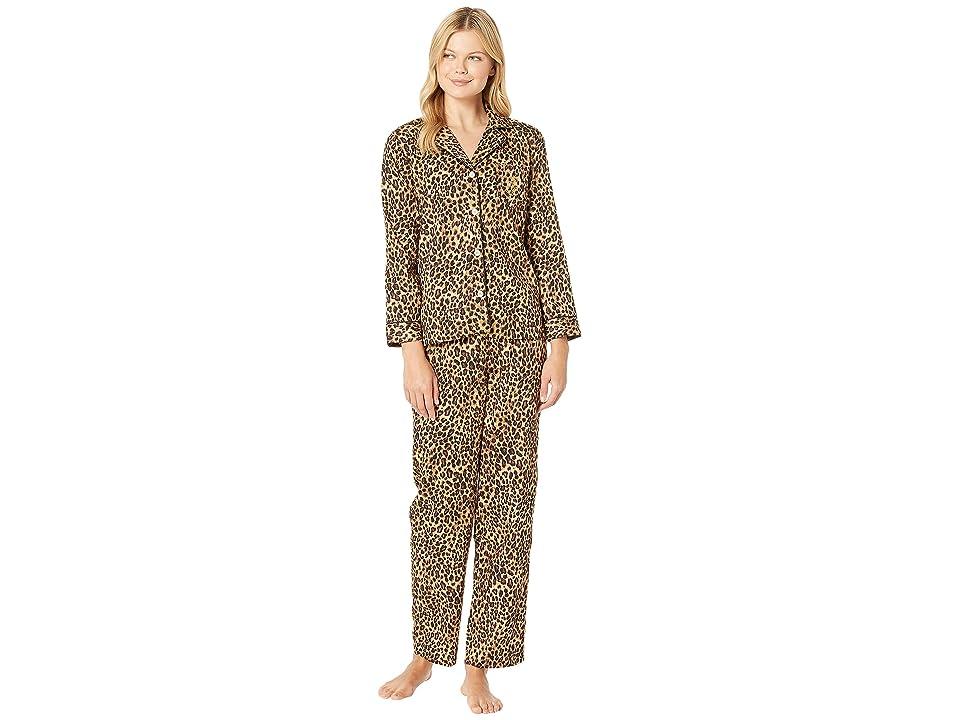 LAUREN Ralph Lauren Sateen Long Sleeve Classic Notch Collar Pajama Set (Leopard Print) Women