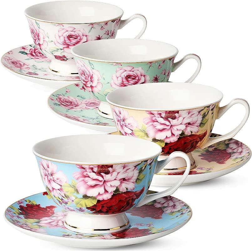 BT T Tea Cups Tea Cups And Saucers Set Of 4 Tea Set Floral Tea Cups 8oz Tea Cups And Saucers Set Tea Set Porcelain Tea Cups Tea Cups For Tea Party Rose Teacups China Tea Cups Bone China