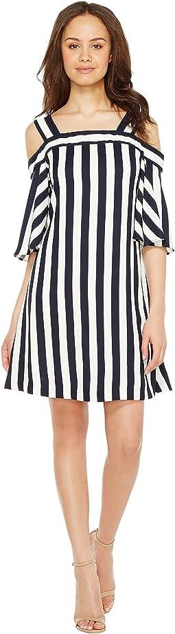 Striped Cold Shoulder Trapeze Dress