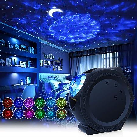 Lampe Projecteur LED Étoile, Projecteur de Veilleuse avec Ocean Wave Moon et Star Night Light Galaxy, projecteur de nuit étoilée avec commande vocale Projecteur de ciel nocturne, USB Rechargeable