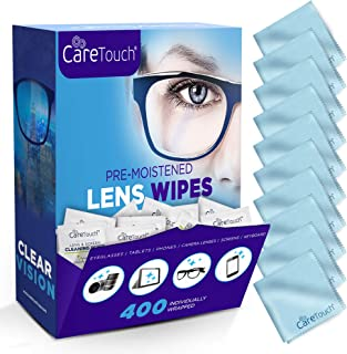 Care Touch Lens Cleaning Wipes with Microfiber Cloths - Excellent Glasses, Laptop, Computer Screen, and Lens Cleaner - 400...