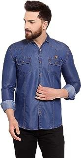 Vataso Mens CasualDenim Shirts Slim Fit