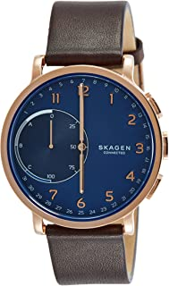 Connected Men's Hagen Stainless Steel and Leather Hybrid Smartwatch, Color: Rose Gold-Tone, Dark Brown (Model: SKT1103)