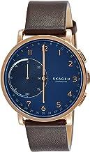 Skagen Connected Men's Hagen Stainless Steel and Leather Hybrid Smartwatch, Color: Rose Gold-Tone, Dark Brown (Model: SKT1...