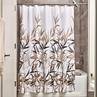 iDesign Anzu Fabric Shower Curtain Water-Repellent and Mold- and Mildew-Resistant for Master, Guest, Kids', College Dorm B...