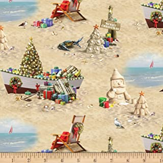 Blank Quilting Elizabeth's Studio Sandy Clause Christmas Beach Scenic Sand Fabric