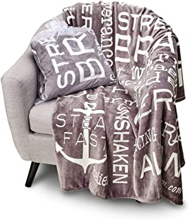 Blankiegram Bravery Inspirational Throw Blanket for Strength, Encouragement & Perseverance | The Perfect Caring Gift (Grey)