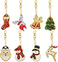 8 Pieces Christmas DIY Resin Artificial Diamond Painting Keychain for Kid DIY Keychain Pendant Handicraft Key Chain Including The Patterns of Santa, Snowman, Elk and Stockings for Christmas Supplies