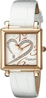 Stuhrling Original Women's 253XL.1145P2 Amour Aphrodite Courtly Passion Swiss Quartz Diamond Date White Watch