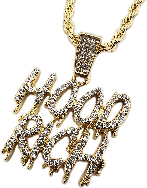 BLINGFACTORY Iced Hip Hop Gold PT Hood Rich Drip Pendant & 24