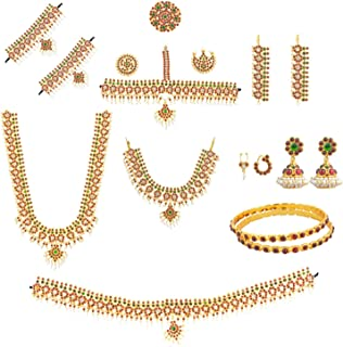 Women's Bharatanatyam Full Set (10 Items) Multi-Colour