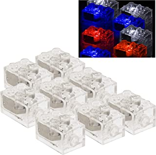 SCS Direct Light Up Building Bricks (2x3) with On/Off and Dim Ability (Set of 8) - Tight Fit with All Major Brands
