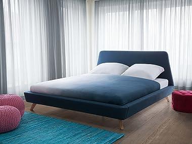 Beliani - Lit Double - Vienne - 160x200 cm, en Tissu, Bleu Foncé