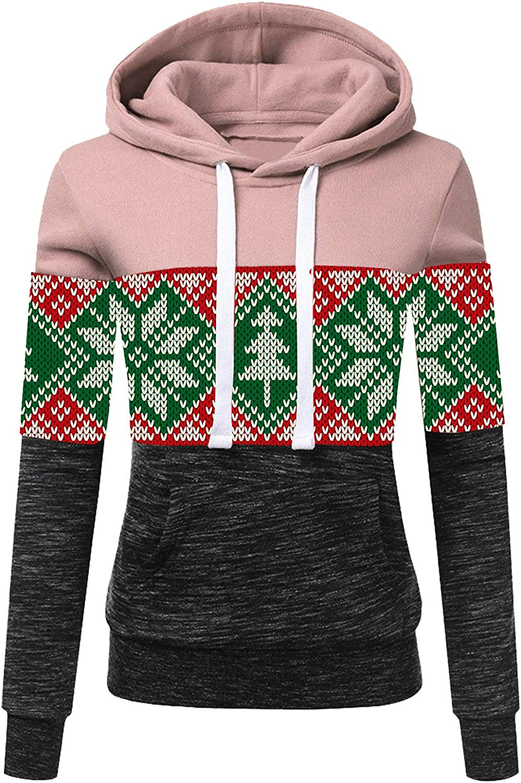 Hotkey Women Christmas Max Popular brand in the world 66% OFF Long Sleeve Sweatshirt Plaid Hoodie Print