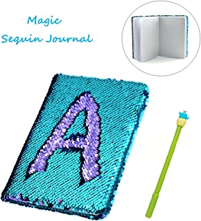 Sequin Notebook – 2 Color Mermaid Reversible Sequin Journal – Magic Travel Journal Notebook Gift for Adults and Kids (Purple-Blue)