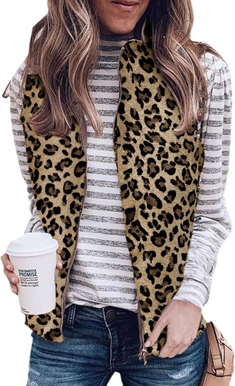 Angashion Women's Warm Sherpa Fleece Zip Up Reversible Vest Sleeveless Lightweight Jacket Outwear