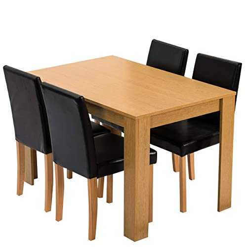 Cherry Tree Furniture 5 Piece Dining Room Set 4 Seater Dining Table With 4