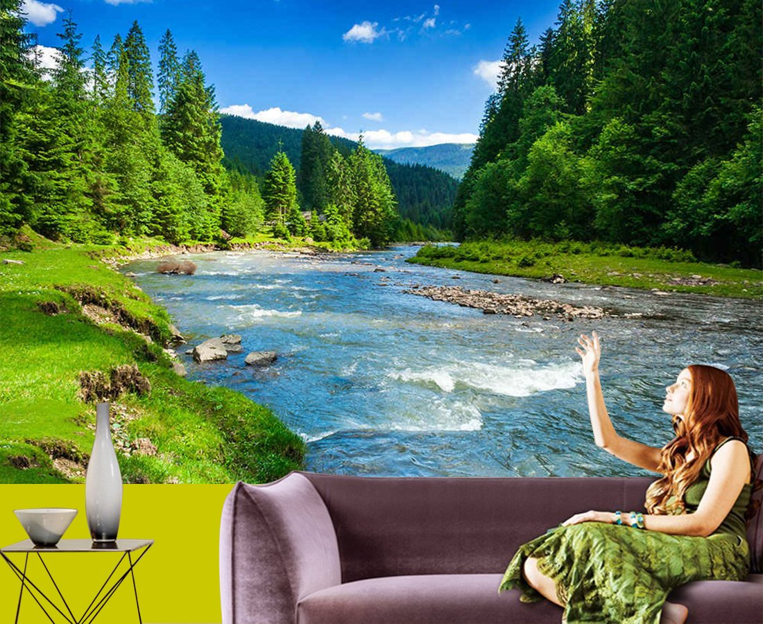 Waterfall And The Nature 3d Wallpaper Available In All Size For Living Room Bed Rooms Tv Background Size 5 X Width 7 Ft Size Height 5 X Width 7 Ft Amazon In Home Improvement