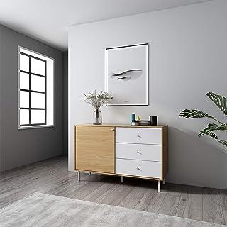 Mc Haus UMMA - Aparador Comedor de Madera Blanco Mueble Cómoda de almacenaje Buffet Salon Armario de diseño con 1 puerta...