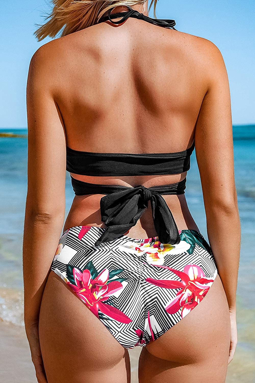 CUPSHE Women's Low Rise Bikini Flower Printing Cross Back Tie Two Piece Swimsuits