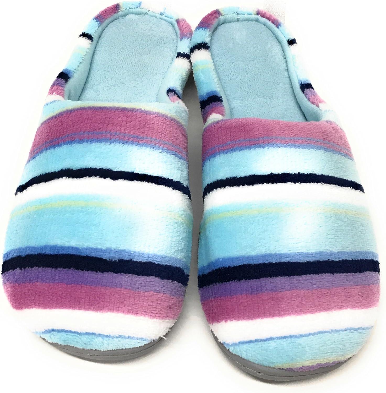 Dearfoams Multi Stripe bluee Slippers (Medium)