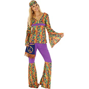 TecTake dressforfun Frauenkostüm Hippie | Oberteil mit ausgestellten Ärmeln | Hose mit Schlag | inkl. Umhängetasche mit Peace - Zeichen (L | Nr. 300944)