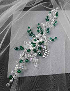 Aimimier Bridal Emerald Hair Vine with Comb Green Crystal and Pearl Hair Comb Boho Wedding Hair Accessories for Women and ...
